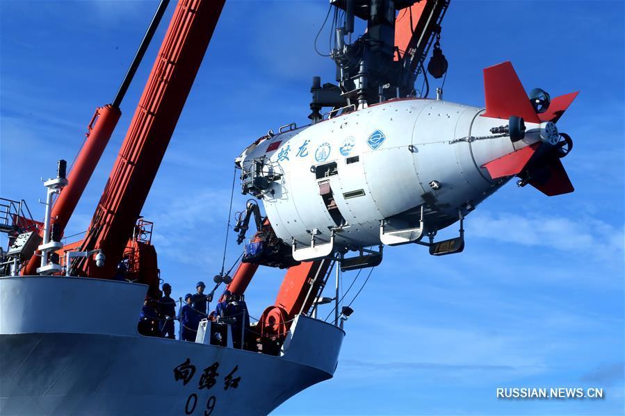 """Китайский батискаф """"Цзяолун"""" погрузился на глубину 6681 м в глубоководном желобе  Яп"""