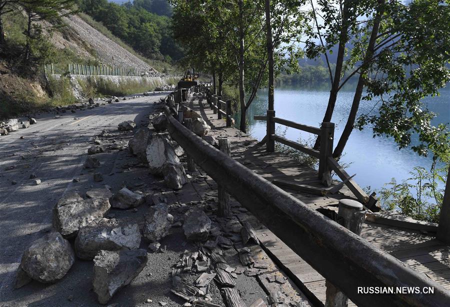 Туристический район Цзючжайгоу на следующий день после удара стихии