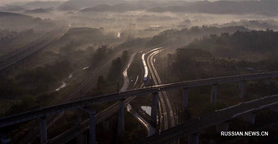 """Высокоскоростные железные дороги через """"пейзажную галерею"""" Гуанси"""