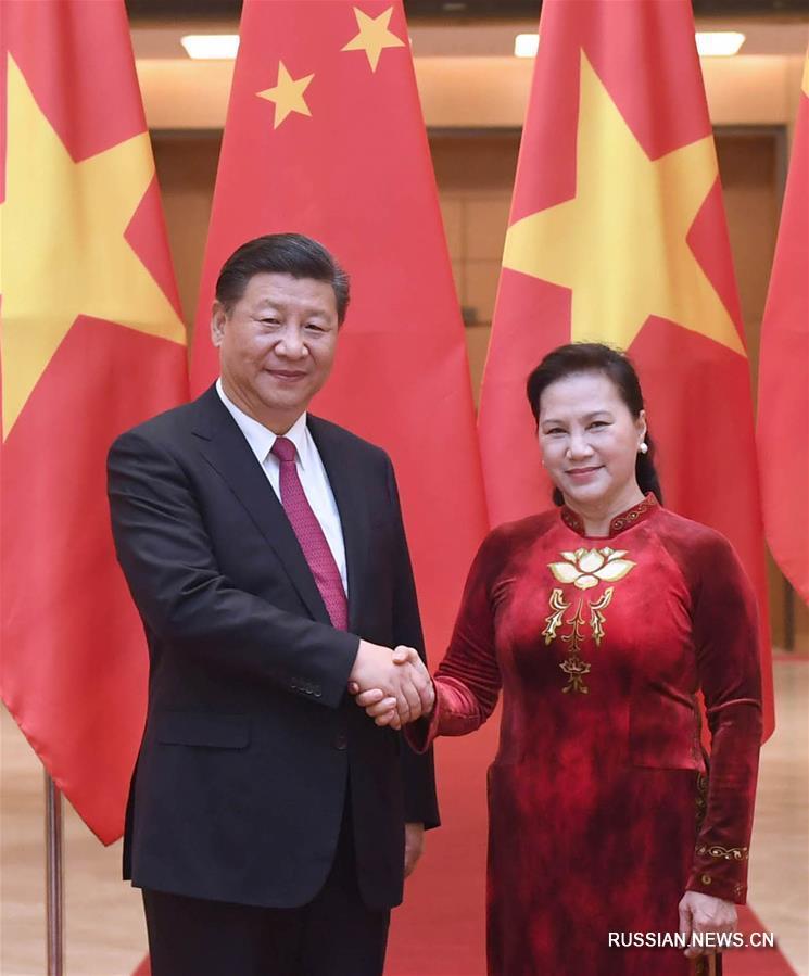 (时政)习近平会见越南国会主席阮氏金银