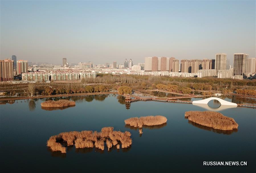 Водно-болотные угодья города Иньчуань на северо-западе Китая