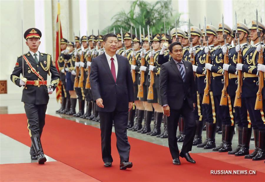 (时政)(1)习近平同马尔代夫总统亚明举行会谈