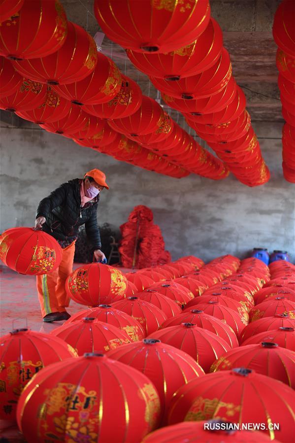 Производство праздничных фонарей в деревне Янчжао