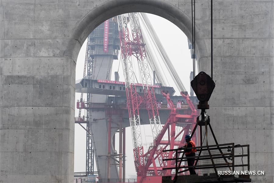 Установлена первая балка автомобильно-железнодорожного моста через Янцзы в городе Уху