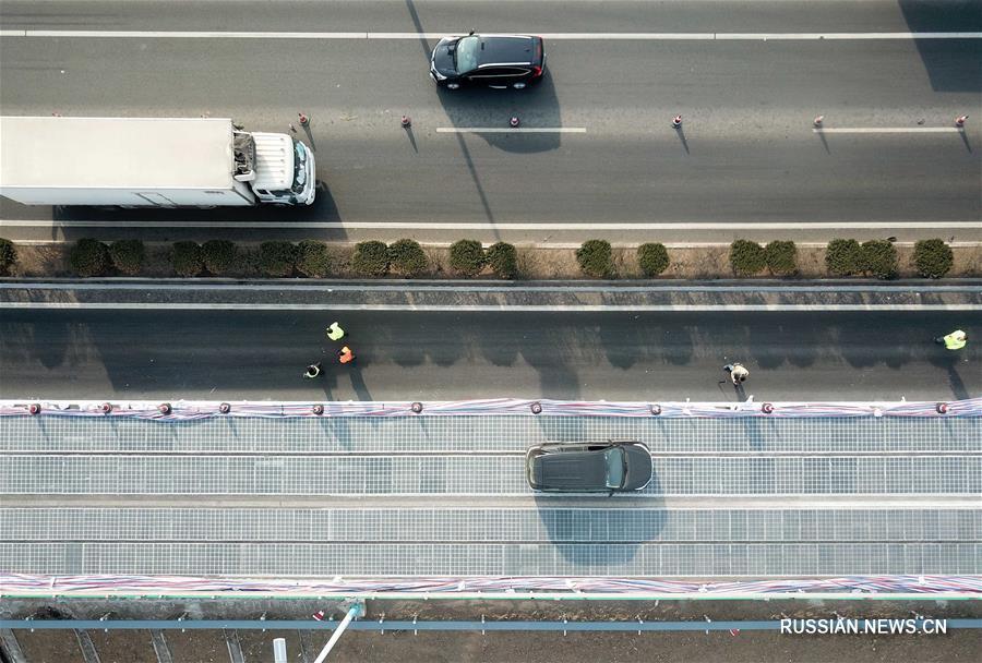 В Цзинане открыт пробный участок скоростного шоссе с солнечными батареями