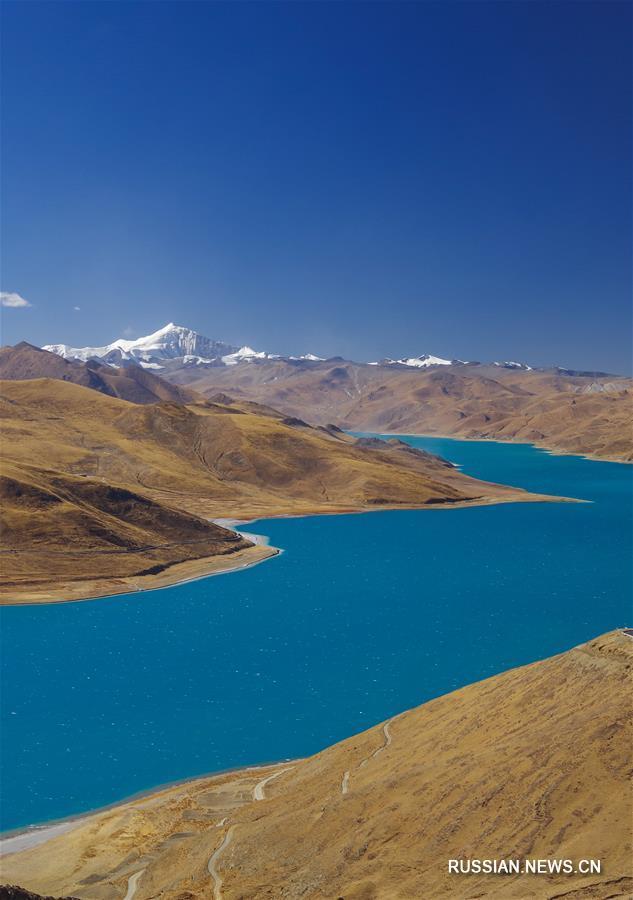 Тибетское озеро Янху зимой