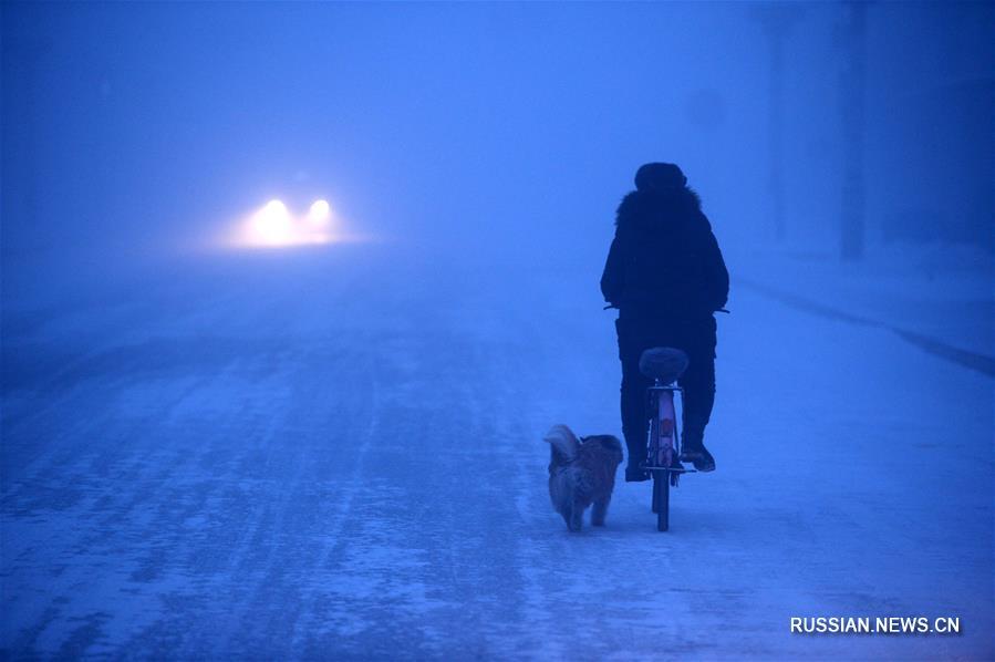 В уезде Мохэ температура воздуха упала до минус 44 градусов