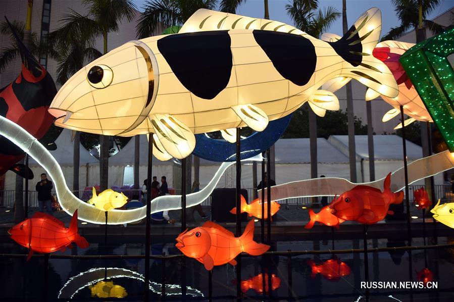 В Сянгане открылась новогодняя выставка цветных фонарей