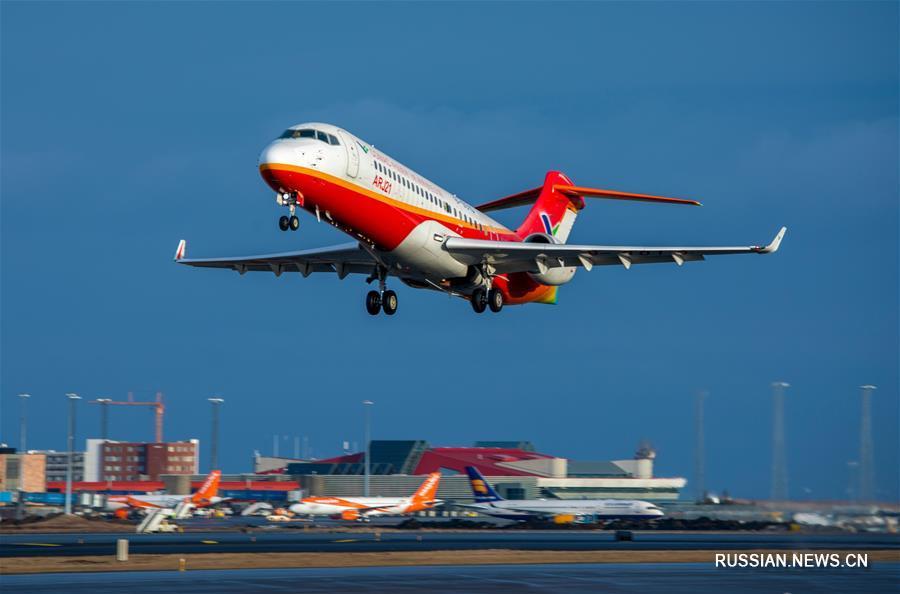 Китайский пассажирский самолет ARJ21-700 завершил испытательные полеты при сильном боковом ветре