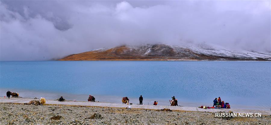 Тибетское озеро Янху весной