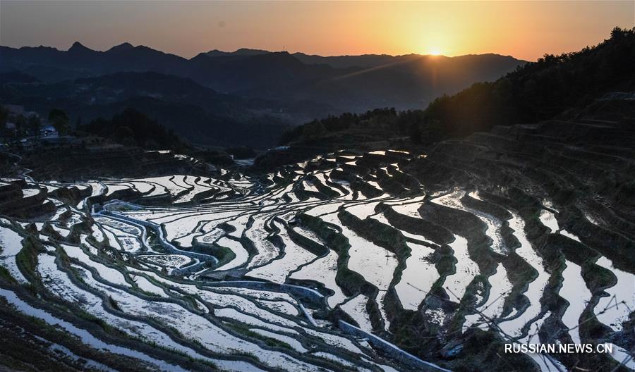 Пейзажи террасированных полей в провинции Хубэй