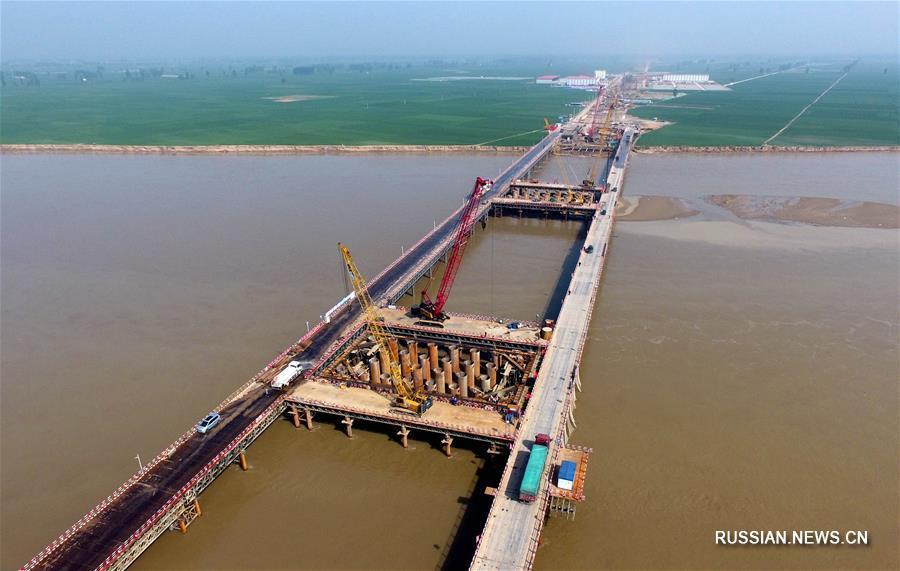 Строительство моста через реку Хуанхэ в Чжэнчжоу