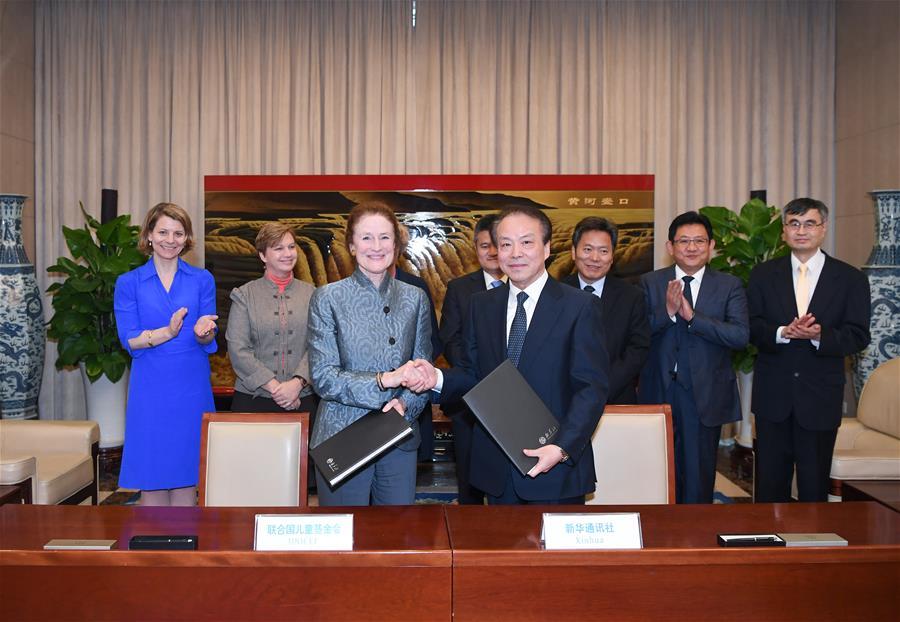 Главред ИА Синьхуа Хэ Пин встретился с исполнительным директором ЮНИСЕФ Г.Фор