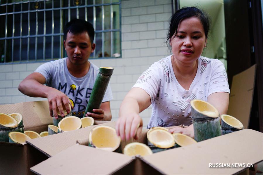 Производство бамбукового вина в уезде Луншэн