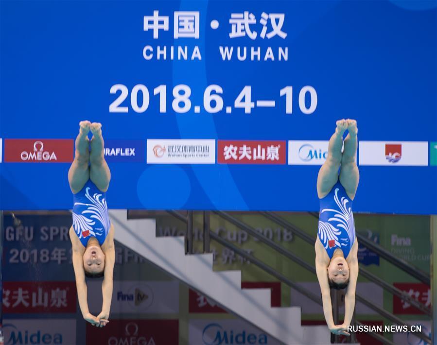 Прыжки в воду -- Кубок мира 2018, уханьский этап: обзор синхронных прыжков с 10-метровой вышки среди женщин