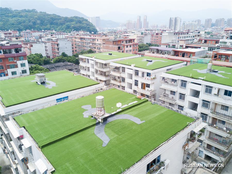 Изображения элементов боевых искусств на крышах уезда Юнчунь
