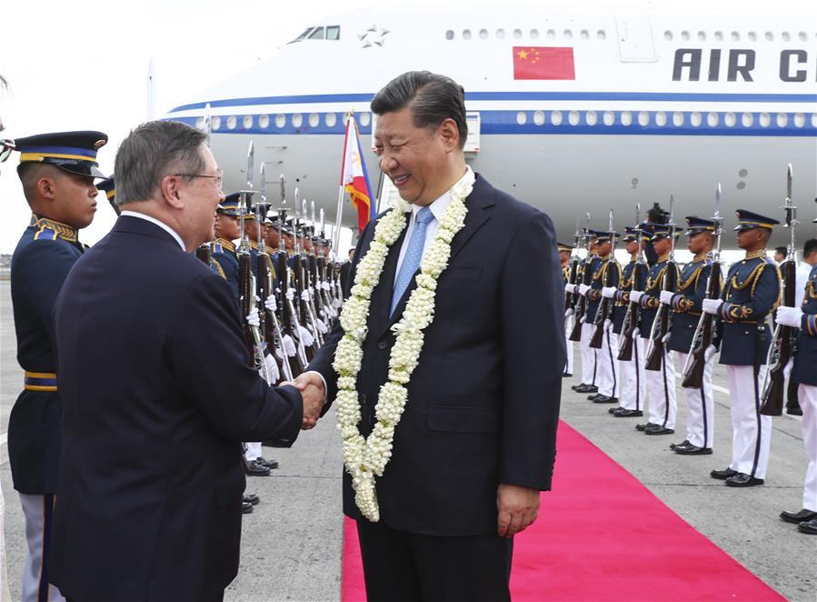 (时政)习近平抵达马尼拉开始对菲律宾共和国进行国事访问