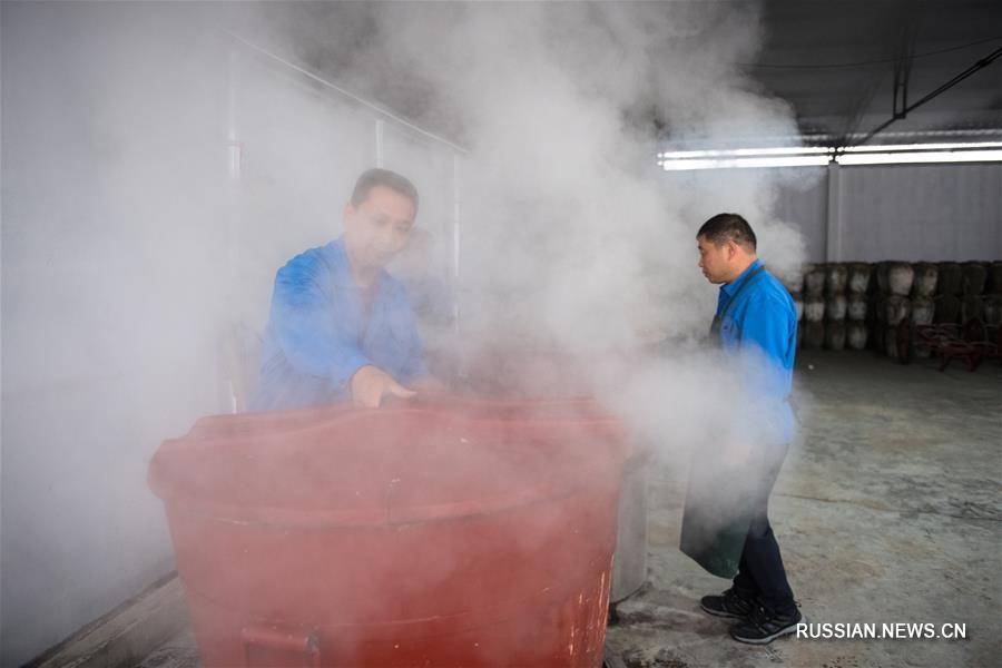 """Изготовление традиционного вина """"Нюйэрхун"""" в Шаосине"""