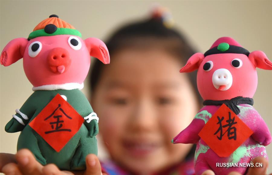 Символ наступающего года в поделках детей из провинции Шаньдун