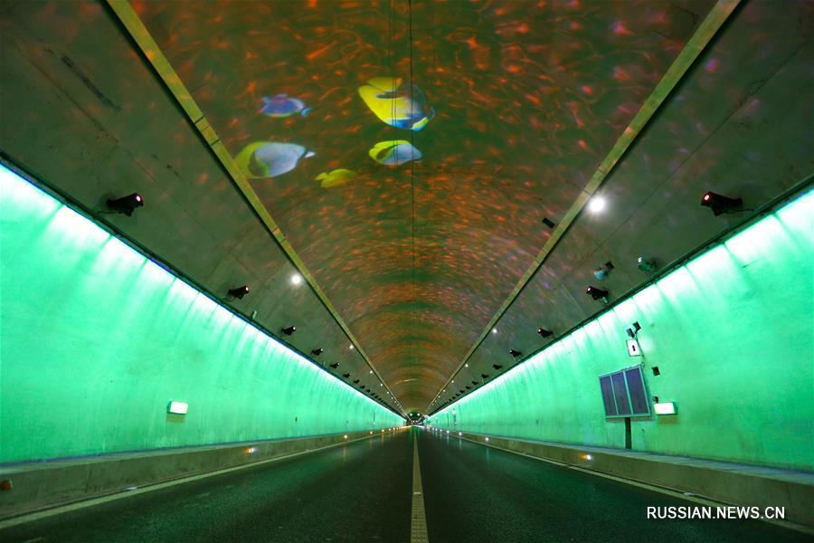 """Скоростной автомобильный тоннель в Гуйчжоу получил """"подводное"""" оформление"""