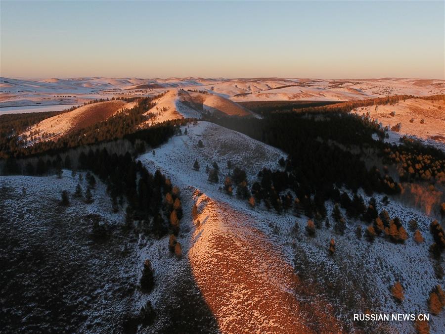 Зимний день в природном парке Мохээрту во Внутренней Монголии