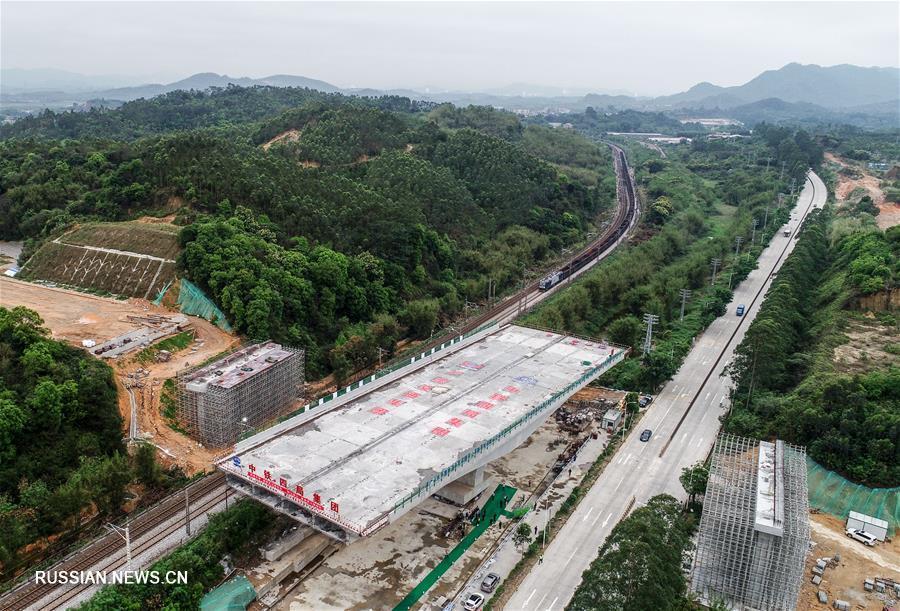 В провинции Гуандун произведен разворот моста на строящемся скоростном шоссе