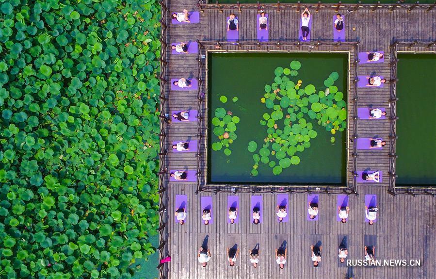 Здоровье нации -- Занятия йогой в парке Маосуй