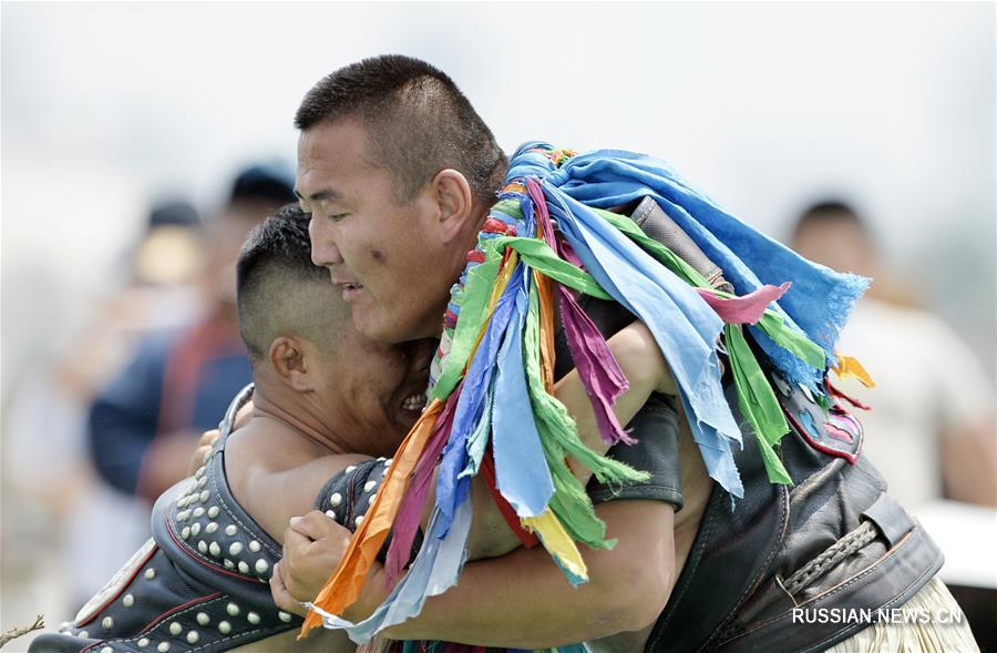 Соревнования по монгольской борьбе бох в Хух-Хото