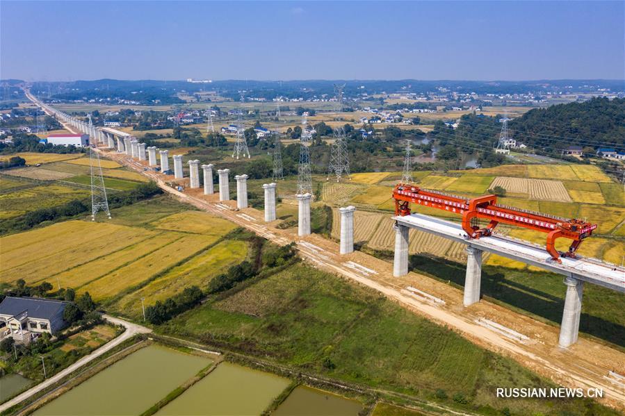 Монтаж эстакады на железной дороге Чандэ -- Иян -- Чанша