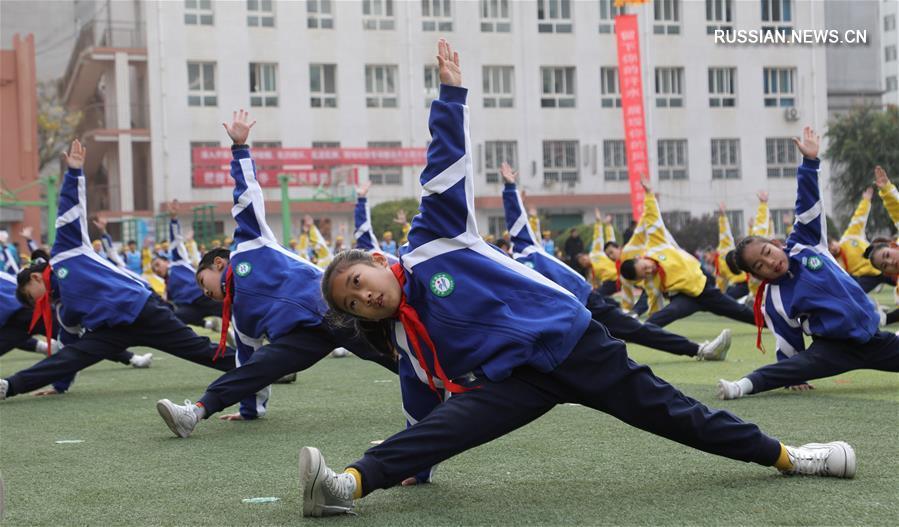 Школьное физкультурно-спортивное шоу в Ланьчжоу