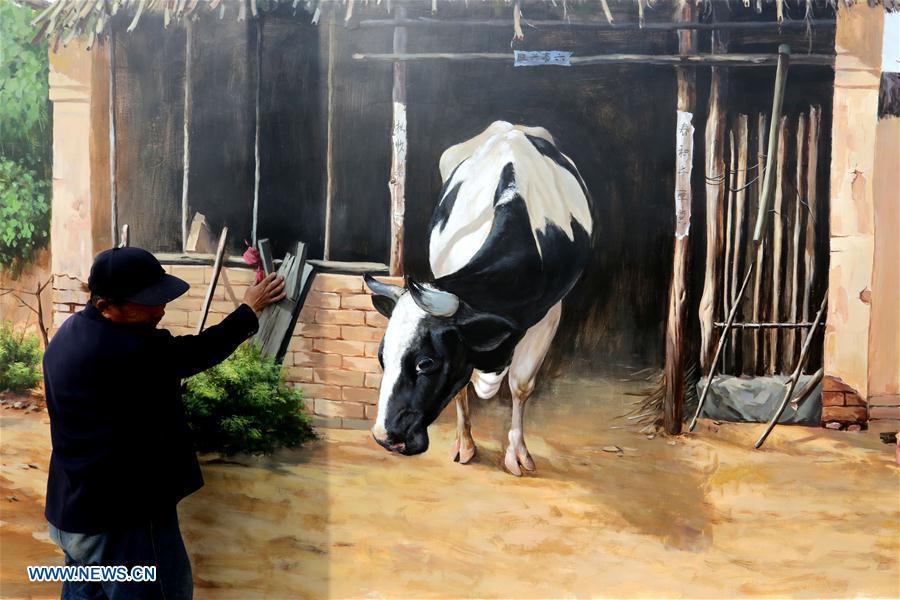 #(晚报)(1)山东郯城:3D立体画扮靓新农村