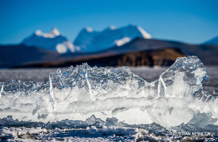 У замерзшего озера Пума-Юмцо на Тибете