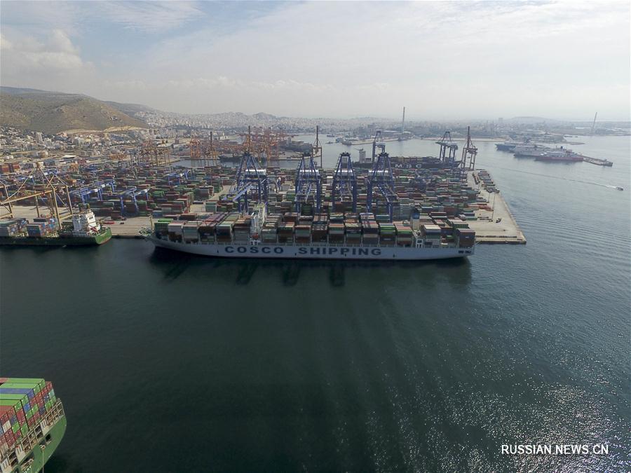 Греческий порт Пирей под управлением китайской компании COSCO
