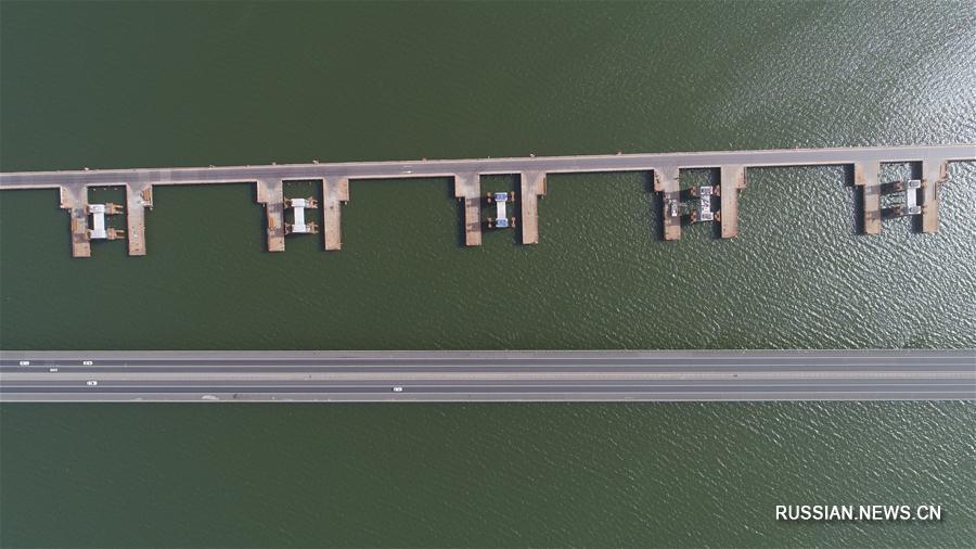 Прошли работы по надвижке первой пролетной балки высокоскоростного железнодорожного моста через водохранилище Гуаньтин
