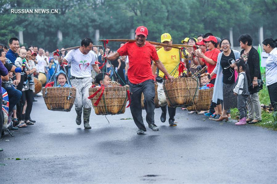 Соревнование по сбору корневищ лотоса в Хучжоу