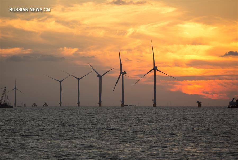 Оффшорная ветроэлектростанция в провинции Цзянсу готовится к вводу в эксплуатацию