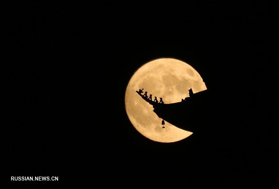 Полная луна в осеннем небе