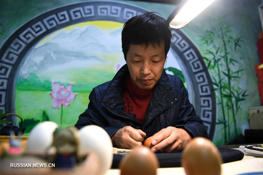 Изящная резьба по яичной скорлупе в провинции Аньхой