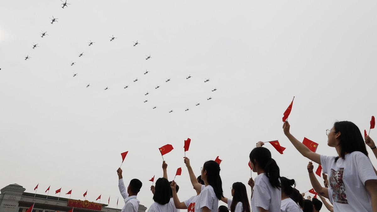 Площадь Тяньаньмэнь в Пекине перед началом торжественного собрания по случаю 100-летия КПК