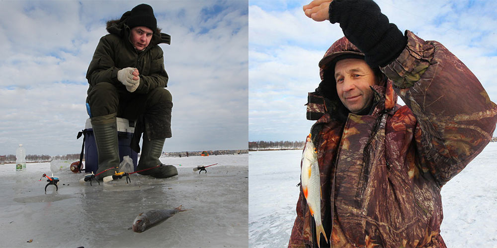 Зимняя рыбалка на озере в Смолевичах