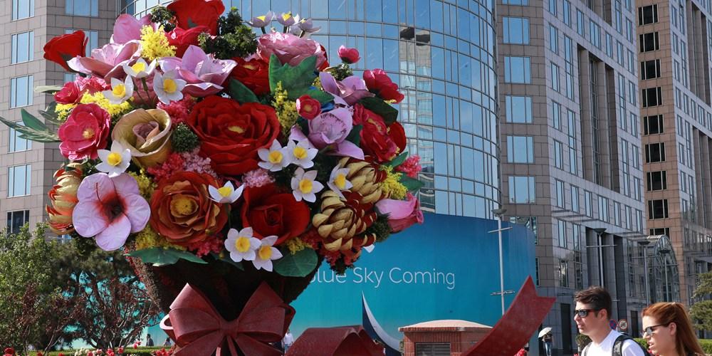 """Пекин украсили цветочные композиции для встречи участников форума по сотрудничеству в рамках """"Пояса и пути"""""""