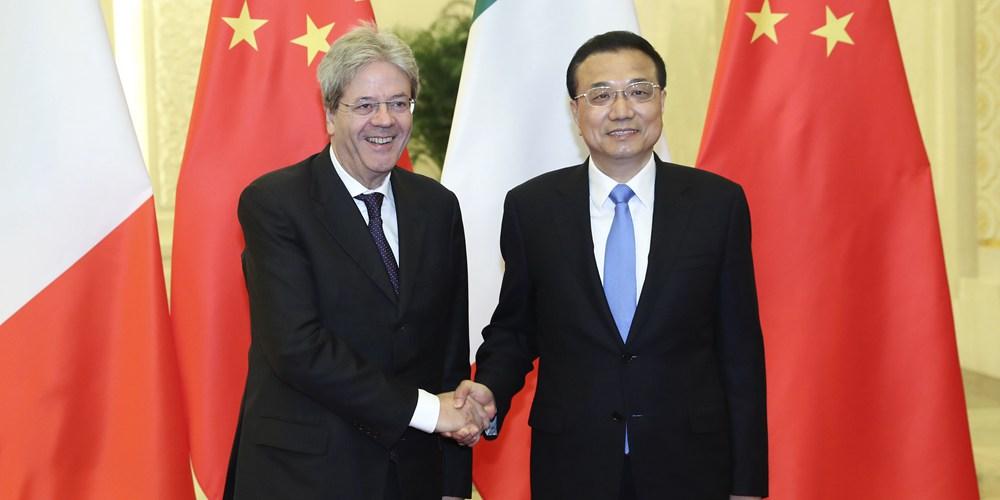 Ли Кэцян призвал к претворению в жизнь плана действий по сотрудничеству между Китаем и Италией на 2017-2020 гг.