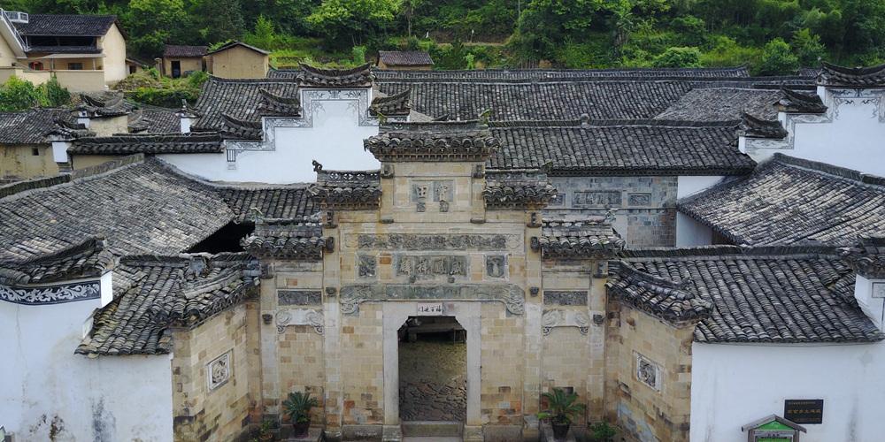 Древняя деревня хакка на востоке Китая с высоты птичьего полета