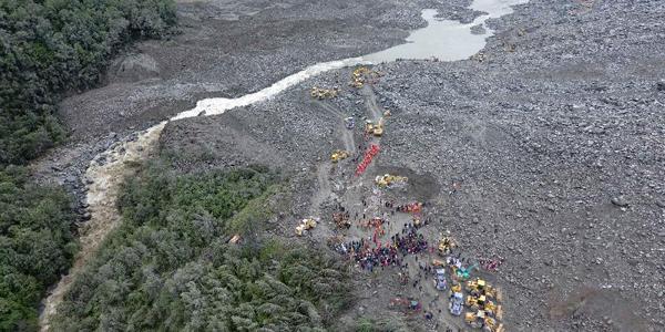 Авиаснимки места схода оползня в Юго-Западном Китае