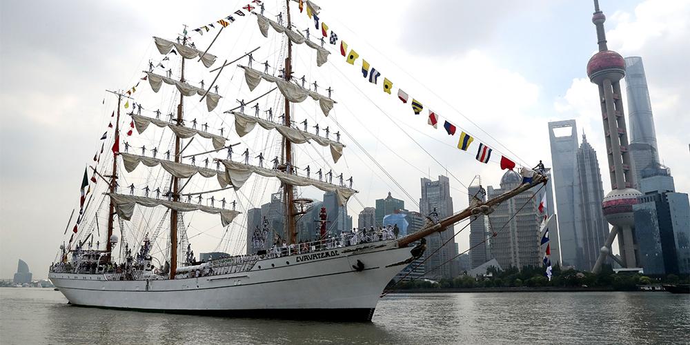 """В Шанхай прибыл с визитом учебный парусный корабль ВМС Мексики """"Куаутемок"""""""