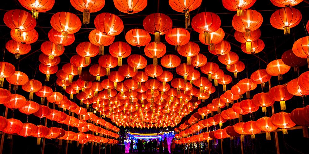 По всему Китаю проходят праздничные выставки цветных фонарей