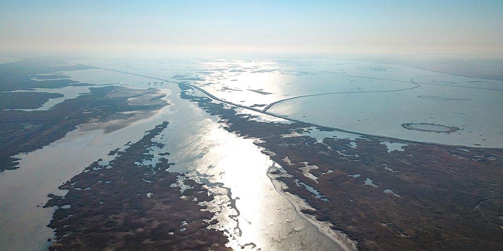 Вид с воздуха на водно-болотные угодья в устье реки Хуанхэ